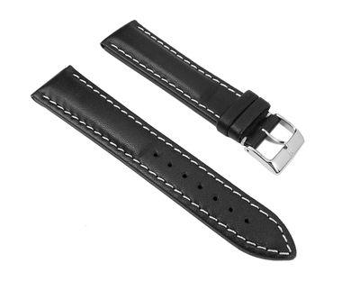 Uhrenarmband Leder Rind-Rustica schwarz 20mm 28463S – Bild 1