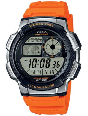 Casio Herrenuhr digital Weltzeit orange AE-1000W-4BVEF