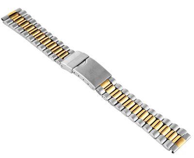 Uhrenarmband Damen Edelstahl Bicolor gelb 18mm matt/glänzend