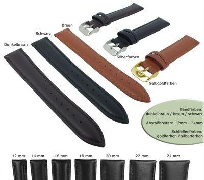 Uhrenarmband Minott | Leder gepolstert glatt mit Ton-in-Ton Naht 28710