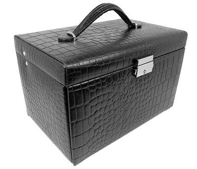 Friedrich|23 Schmuckkasten klassisch schwarz aus Leder in Kroko-Optik – Bild 1