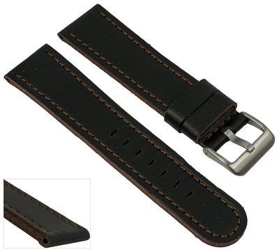 EULIT Uhrenarmband | Sattelleder 20mm schwarz mit Kontrastnaht - 221 – Bild 3