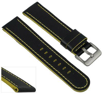 EULIT Uhrenarmband | Sattelleder 20mm schwarz mit Kontrastnaht - 221 – Bild 4