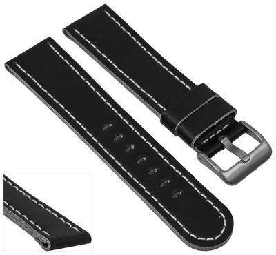 EULIT Uhrenarmband | Sattelleder 20mm schwarz mit Kontrastnaht - 221 – Bild 8