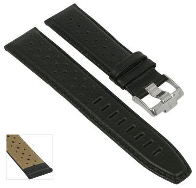Jacques Lemans 1-1475 Lugano | Uhrenarmband 22mm schwarz Leder