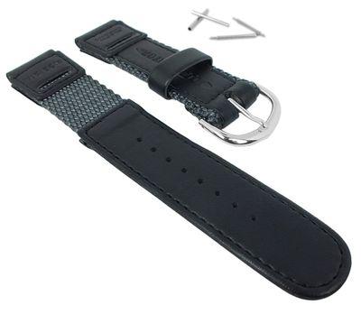 Casio Uhrenarmband | Textil/Leder grau/schwarz für At A Glance W-94HF – Bild 1