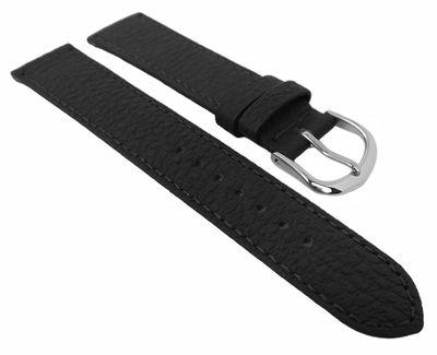 Herzog Uhrenarmband mit Naht mattes Leder genarbt | Kalb schwarz 29090 – Bild 2