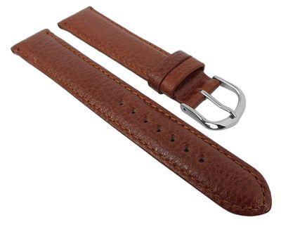 Herzog Uhrenarmband Leder   braun fein genarbt leicht gepolstert – Bild 2