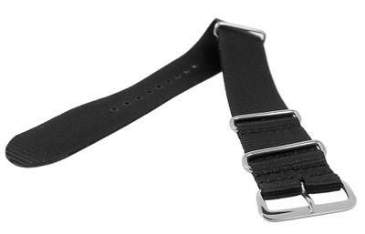 Nato-Band XL Uhrenarmband Nylon | Minott Durchzugsband schwarz  – Bild 2