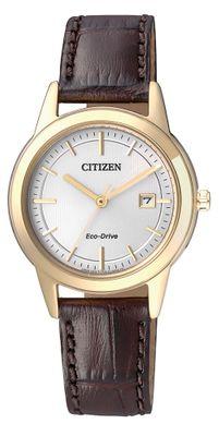 Citizen | Solaruhr Damen gelbgold mit braunem Lederarmband FE1083-02A