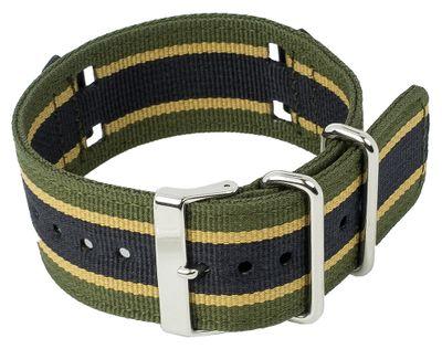 Ersatzband Textil schwarz-Grün-Gelb mit Unterlage Casio G-Shock GA-100MC – Bild 1