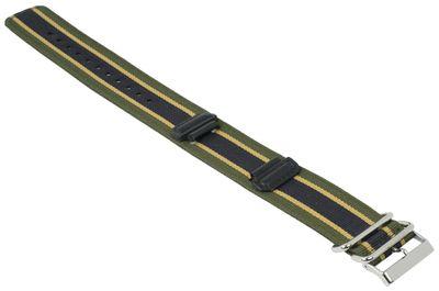 Ersatzband Textil schwarz-Grün-Gelb mit Unterlage Casio G-Shock GA-100MC – Bild 2