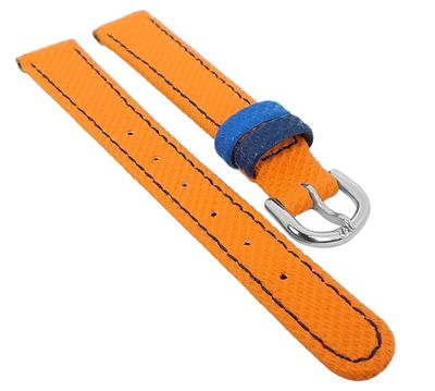 Minott Kinder Uhrenarmband 12mm Materialmix orange / blau 29783 – Bild 1