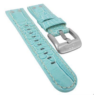 TW STEEL Uhrenarmband 22mm   Leder hellblau mit Kroko-Optik für TW31 – Bild 1