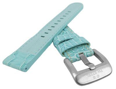 TW STEEL Uhrenarmband 22mm   Leder hellblau mit Kroko-Optik für TW31 – Bild 2