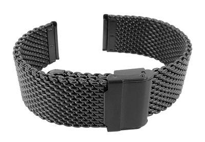Minott Milanaise Uhrenarmband 20mm | Edelstahl schwarz 29870 – Bild 1