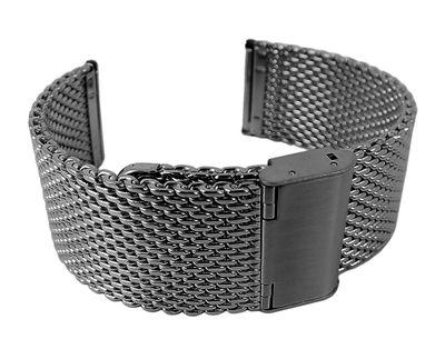 Minott Milanaise Uhrenarmband 24mm | Edelstahl schwarz massiv 29871B