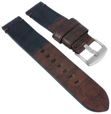 Minott   Uhrenarmband Leder Retro Look dunkelbraun genarbt 30022
