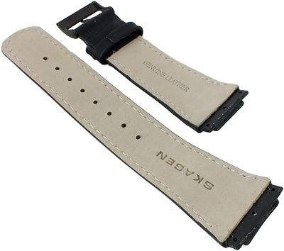 Skagen Uhrenarmband Leder Krokooptik schwarz zum Verschrauben 856XLBLB – Bild 2