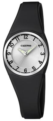 Calypso | Damenuhr analog Quarz mit Kunststoffband schwarz K5726/6