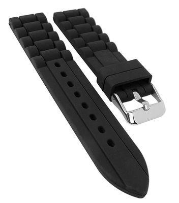 Eulit Daytona Uhrenarmband 20mm | Silikon, schwarz 30382
