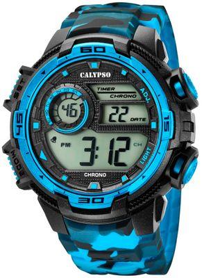 Calypso   Herrenuhr digital Quarz mit Alarm schwarz/hellblau K5723/4