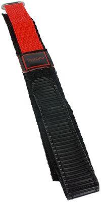 Minott Tavolino | Uhrenarmband Durchzugsband Klettband Schwarz/Rot 14mm
