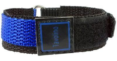 Minott Tavolino | Uhrenarmband Durchzugsband Klettband Schwarz/Blau 14mm – Bild 2