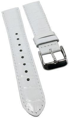 Uhrenarmband Collection | Leder weiß Kroko Prägung Casio LTF-119L – Bild 1