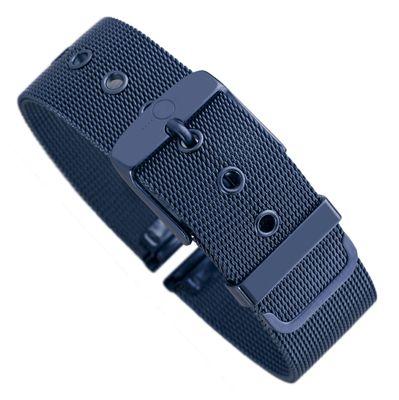 Minott | Uhrenarmband Milanaise Edelstahl blau glänzend 30604 – Bild 1