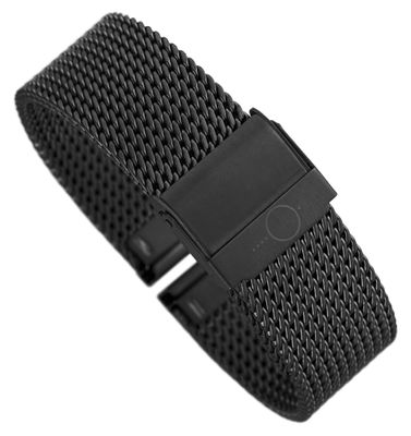 Minott Uhrenarmband Milanaise Edelstahl glänzend schwarz 30679