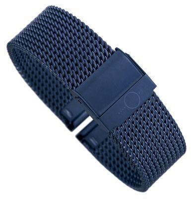 Minott Uhrenarmband Milanaise Edelstahl glänzend blau 30685