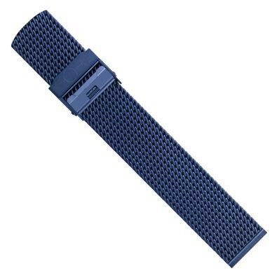 Minott Uhrenarmband Milanaise Edelstahl glänzend blau 30685 – Bild 3
