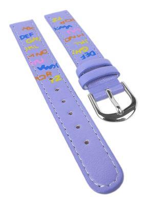 Minott | Kinder Uhrenarmband 12mm | violett mit bunten Buchstaben  – Bild 1