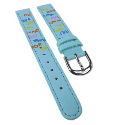 Minott | Kinder Uhrenarmband 12mm | blau mit bunten Buchstaben  – Bild 1