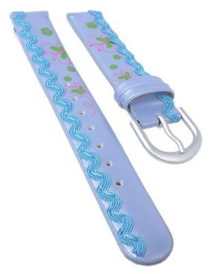 Minott | Kinder Uhrenarmband 14mm | blau mit Schmetterling-Motiv