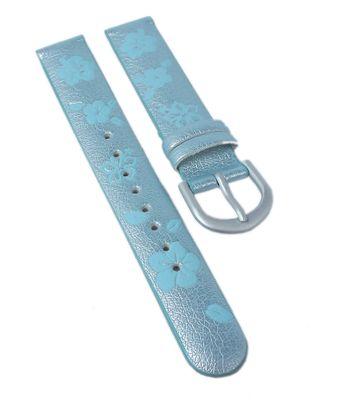 Minott | Kinder Uhrenarmband 14mm | blau mit Blumen-Motiv – Bild 1