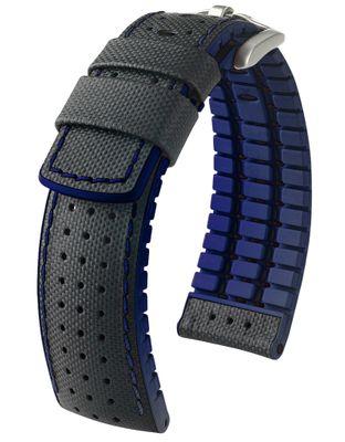 HIRSCH Performance | Uhrenband Leder/Kautschuk Segeltuch-Optik 30953S