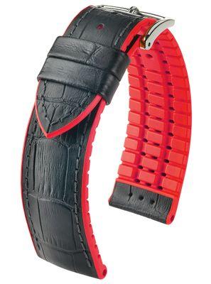 HIRSCH Performance | Uhrenband Leder/Kautschuk Alligator-Optik 30960S