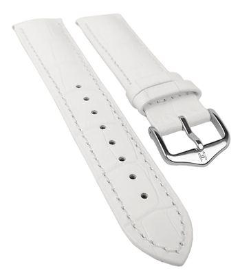 HIRSCH DUKE L   Uhrenarmband Kalbsleder Weiß / Alligatorprägung 31017 – Bild 2