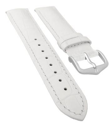 HIRSCH DUKE L   Uhrenarmband Kalbsleder Weiß / Alligatorprägung 31017 – Bild 3