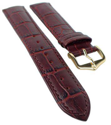 HIRSCH DUKE L   Uhrenarmband Leder Weinrot / Alligatorprägung 31021 – Bild 1