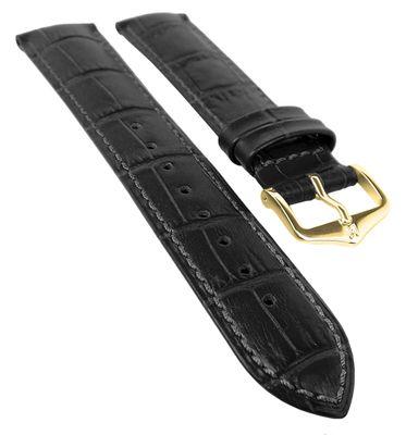 HIRSCH DUKE L   Uhrenarmband Leder Schwarz / Alligatorprägung 31024 – Bild 1