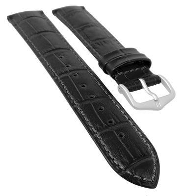 HIRSCH DUKE L   Uhrenarmband Leder Schwarz / Alligatorprägung 31024 – Bild 3