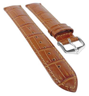 HIRSCH DUKE XL | Uhrenarmband Leder Goldbraun / Alligatorprägung 31038 – Bild 1
