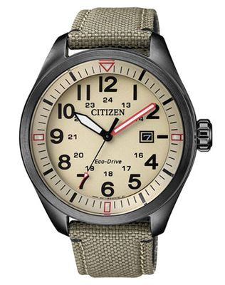 Citizen Eco Drive Herrenuhr analog Quarz khaki Textilband AW5005-12X