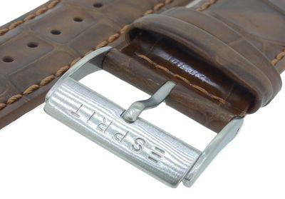 Esprit Uhrenarmband   Leder in Kroko-Optik 16mm braun ES000T31 – Bild 5