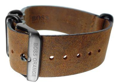 Hugo Boss 1513316 Uhrenarmband 24mm | Leder, vintage, braun 31369 – Bild 2