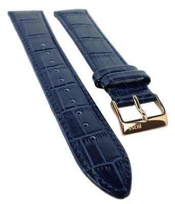 Hugo Boss 1513371 Uhrenarmband 20mm | Leder, blau, Dornschließe 31374 – Bild 1