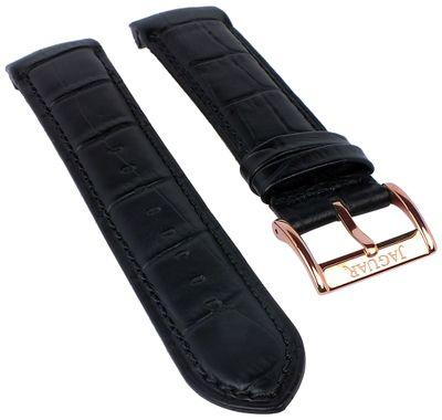 Jaguar | Uhrenarmband Leder schwarz Kroko-Optik für Modell J683 J682 – Bild 1